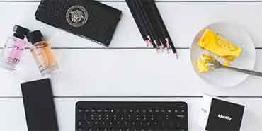 keyboard, pencils and food
