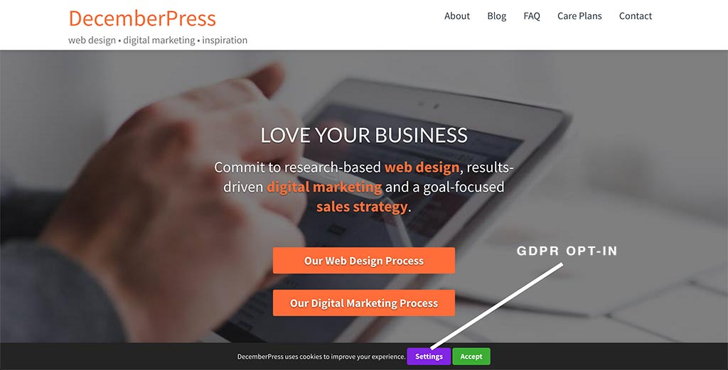 image of the DecemberPress homepage with GDPR notice highlighted