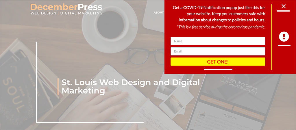 DecemberPress Website Covid-19 Notification Popup