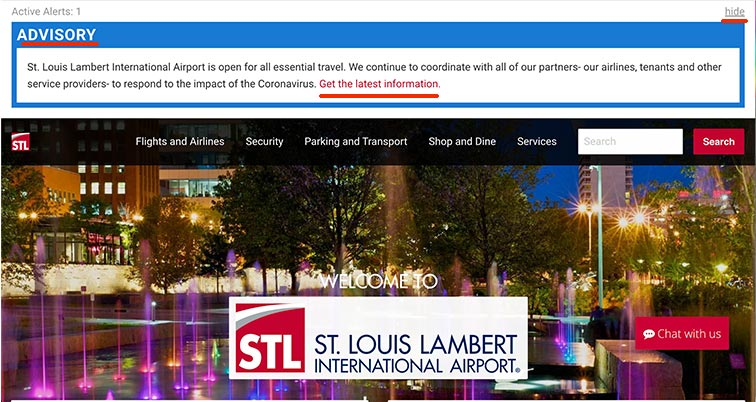 Lambert St. Louis International Airport Website Notification Popup