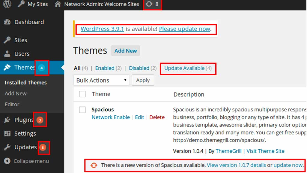 Wordpress care and maintenance begins at the WordPress Dashboard